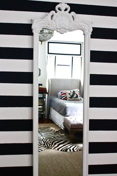 Black and white striped wall, gold mirror, lamp. | Home ... on Mirrors For Teenage Bedroom  id=94535