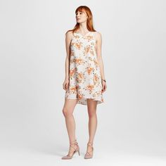 Women's Floral Print Shift Dress with Lace Sleeves