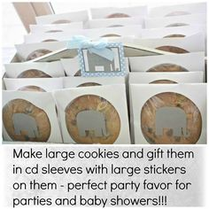 CLEVER: Make large cookies and gift them in CD sleeves with large stickers on them - perfect party favor! Would be awesome at a baby shower or child's birthday party! Homemade Gifts, Diy Gifts, Food Gifts, Party Gifts, Party Favors, Favours, Snacks Für Party, Bake Sale, Cookies Et Biscuits