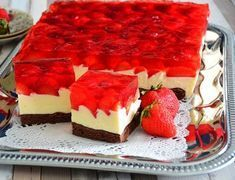 Erdbeerkuchen mit Mascarponecreme – Rezepte Strawberry cake with mascarpone cream – recipes Dessert Oreo, Cookie Desserts, No Bake Desserts, Polish Desserts, Polish Recipes, Easy Cake Recipes, Sweet Recipes, Food Cakes, Cupcake Cakes