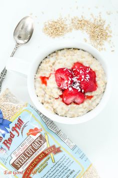 strawberries and cream steel cut oats | Eat Good 4 Life