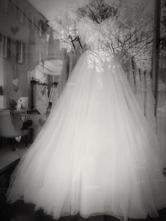 A wedding gown slowly dissolves into the background.