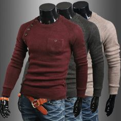 Mens New Premium Stylish Slim Fit Sweater Jumper Tops Cardigan 3Colors | eBay