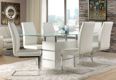 White Leather Dining Room Chairs Decor IdeasDecor Ideas Here we have best photo about white dining room chairs. We wish these photos can b. White Leather Chair, White Leather Dining Chairs, White Chairs, Red Leather, White Dining Room Furniture, Dining Room Table, Apartment Furniture, Dining Set, Dining Rooms