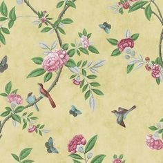 A trailing Chinoiserie peony design reproduced from a fragment of hand-painted wallpaper from Canton, China, 1800–25.