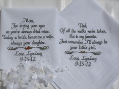 Set of Two Personalized WEDDING HANKIE'S Mother & Father of the Bride Gifts Hankerchief - Hankies -  By Canyon Embroidery. $47.50, via Etsy.