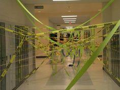Ribbons in the Hallway - 20  Best Senior Prank Ideas, http://hative.com/best-senior-prank-ideas/,