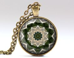 Awesome Sacred pendant with a chain or a leather cord. Nice Mandala jewelry in bronze or silver finish. Beautiful Esoteric necklace.  SIZE: 25 mm (1