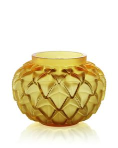 Lalique glass and crystal decorative accessories, synonymous with the art deco movement Amber Crystal, Amber Glass, Crystal Vase, Vase Lalique, Decorative Accessories, Decorative Items, Cut Glass, Glass Art, Vases