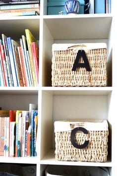 Letter shaped leather basket labels