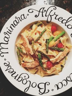 """#Vegan """"Chicken"""" Farfalle with Asparagus and Cherry Tomatoes in Lemon """"Butter"""" Sauce. #Gardein #organic"""