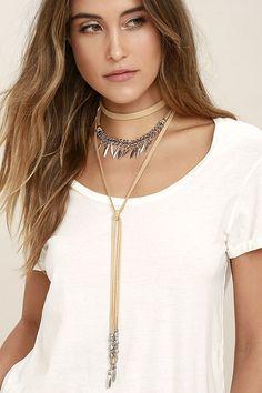 cd87e16cfc1b You Long Choker Necklace, Long Chokers, Necklace Set, Layered Necklace,  Beige Necklaces