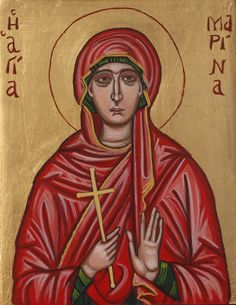 """A very beloved and much venerated saint, especially in my island Crete. On the eve of the feast of Santa Marina οn 17th of July, people walk in a pilgrimage (a distance of 30 km from my home town) to pay tribute to Her, in her Church in the beautiful village of Vonni. Afterwards and a great """"Panygyri"""" (religious feast) is made and everybody is honoring the Saint in the Cretan way!"""
