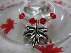 Set of 4 Maple Leaf Wine Glass Rings.  Perfect for the cottage, boa, or backyead BBQ on Canada Day