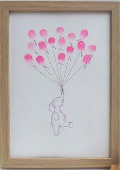 Baby Shower Keepsake art, elephant holding thumb/fingerprint balloons, Baby show. Cadeau Baby Shower, Idee Baby Shower, Shower Bebe, Girl Shower, Baby Shower Keepsake, Baby Shower Thumbprint Guest Book, Baby Shower Cupcakes Neutral, Elephant Baby Shower Favors, Baby Shower Gift Bags