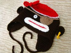Monkey Pirate Crochet Hat