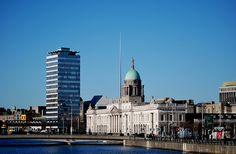 Liberty Hall, The Dublin Spire & The Custom House in Dublin, Ireland