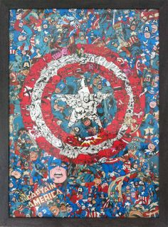 Captain America Comic Collage - it would be fun to try this with various themes.