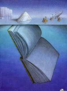 50 illustrations that cleverly describe the fascination of books. Illustration by Pawel Kuczynski. You are in the right place about global warming Satire Here we offer you the most beautiful pictures I Love Books, Good Books, Books To Read, My Books, Amazing Books, Satire, Satirical Illustrations, Reading Art, Reading Room