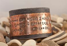 Leather cuff bracelet- Between two evils - Mae West. $32.00, via Etsy.