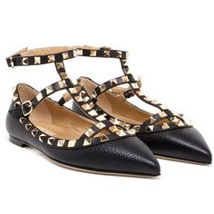 VALENTINO Grained Black Leather Rockstud Flats found on Polyvore