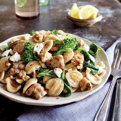 Orecchiette with Turkey Sausage, Broccoli Rabe, and Walnuts   Warming winter flavors unite to create this simple and elegant weeknight dish.