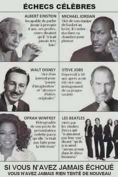 Famous Failures - great for inspiring kids to persist even when they fail at something Michael Jordan, Steve Jobs, The Right Person Quotes, Astronomy Quotes, Famous Failures, Plus Belle Citation, Actions Speak Louder, Architecture Quotes, Einstein Quotes