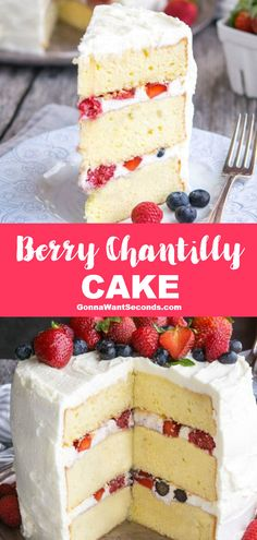 Berry Chantilly Cake Recipe (With Video!) *NEW* A picture is worth a thousand words, and this Berry Summer Dessert Recipes, Delicious Desserts, Breakfast Recipes, Frosting Recipes, Cookie Recipes, Blackberry Cake, Gourmet Cakes, Strawberry Recipes, Strawberry Chantilly Cake Recipe