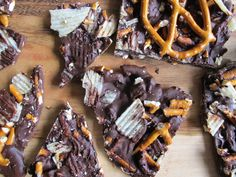 Homemade Smoked Salt, Potato Chip, and Pretzel Chocolate Bark #recipe #dessert