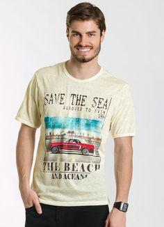 40572201a6 Camiseta Creme Estampada - Posthaus