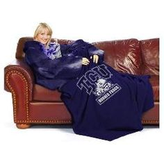"""Texas Christian Horned Frogs NCAA Adult """"Smoke"""" Comfy Throw Blanket w/ Sleeves"""