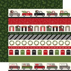 Carta Bella Paper - Christmas Delivery Collection - 12 x 12 Double Sided Paper - Border Strips Christmas Words, Christmas Snowflakes, Plaid Christmas, Echo Park Paper, Decorative Tape, Borders For Paper, Jingle All The Way, Christmas Delivery, Scrapbook Albums