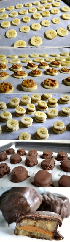 Chocolate Covered Frozen Banana and Peanut Butter Bites - Ok.i've seen this pin a ton so I finally had to pin! These tasty peanut butter banana bites are a delicious frozen banana dessert. Chocolate Covered Bananas Frozen, Banana Com Chocolate, Baking Chocolate, Frozen Banana Dessert, Chocolate Covered Almonds, Vegan Chocolate, Chocolate Desserts, Frozen Banana Recipes, Healthy Chocolate Snacks