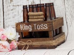 So cute for jack and Jill?Ring Toss Game Rustic Wedding Decor Outdoor Party Game Wedding Games Yard Games Family Party Games Beer Bottle Ring Toss Game Wood Crate by DownInTheBoondocks on Etsy