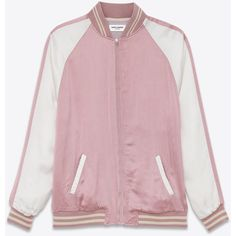 Saint Laurent Oversized Teddy Jacket ($2,210) ❤ liked on Polyvore featuring outerwear, jackets, coats & jackets, tops, varsity style jacket, zip front jacket, pink letterman jacket, pink varsity jacket and pink jacket
