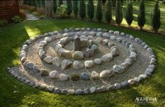 Spiral garden path, spray the rocks yellow and follow the yellow road.... I have large rocks all over my yard... be interesting to make one area like this just for fun.