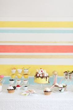 Beautiful ice cream party...I love the backdrop!  Painted plywood?
