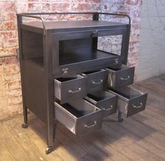 Vintage Industrial Metal & Glass Medical Cart | From a unique collection of antique and modern cabinets at https://www.1stdibs.com/furniture/storage-case-pieces/cabinets/
