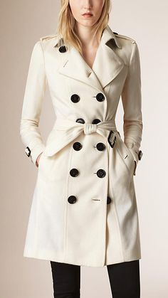 White Sandringham Fit Cashmere Trench Coat - Burberry London