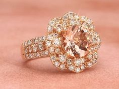Gold Jewelry Style No. VIMK 2201 Strawberry Gold® Peach Morganite™ Ring with Nude Diamonds™ - Luxury Jewelry, Gold Jewelry, Jewelry Rings, Fine Jewelry, Jewellery, Big Engagement Rings, Wedding Jewelry, Wedding Rings, Mode Inspiration
