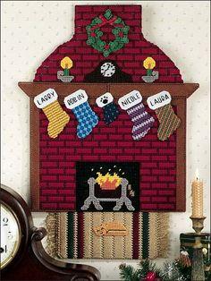 Plastic Canvas Pattern: Family Fireplace, e-PatternsCentral.com