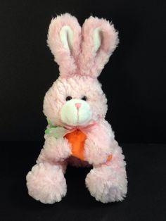 "Animal Adventure Plush Pink Bunny Rabbit Carrot Transparent Ribbon Lovey 12""  #AnimalAdventure"
