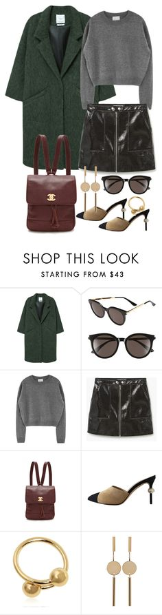 """""""Untitled #3275"""" by angieswardrobe ❤ liked on Polyvore featuring MANGO, Gentle Monster, WGACA, Chanel, J.W. Anderson and Isabel Marant"""