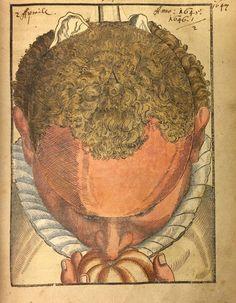 """Levantando solapas en """"Ophthalmodouleia"""" de George Bartisch. Este libro de oftalmología de 1583 incluye solapas que permiten a los lectores """"diseccionar"""" las capas de la cabeza y el cerebro."""
