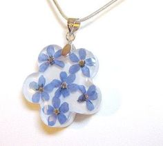 resin and flower pendant