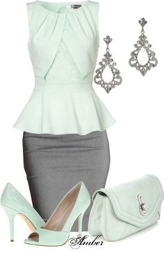 A fashion look from April 2013 featuring charcoal grey pencil skirt, high heel court shoes and hand bags. Browse and shop related looks. Business Fashion, Business Outfits, Business Attire, Business Casual, Jw Mode, Quoi Porter, Grey Pencil Skirt, Pencil Skirts, Black Pencil