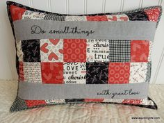 Valentines Pillow Tutorial A Quilting Life Patchwork Pillow, Quilted Pillow, Quilt Pillow Case, Sewing Pillows, Diy Pillows, Decorative Pillows, Pillow Ideas, Decorative Accents, Creeper Minecraft