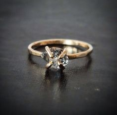 ***Chic + Edgy + Modern ***  •••each diamond can vary in color and size•••      This stunning and raw Herkimer Ring are hand forged in SOLID 14k