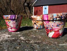 Decoupage pots for summer plats. Kids craft DIY.