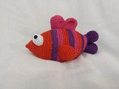 Crochet Amigurumi pink orange purple fish by TheHappyStar on Etsy